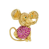 18k Gold &amp; Pav Ruby Mouse Pin