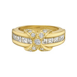 ​18k Yellow Gold & Diamond 'X' Band Ring