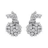 ​Diamond Foliate Spray Earclips (~12 ct tw)