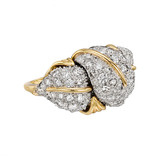 18k Gold &amp; Diamond Leaf Ring