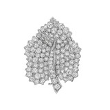 Platinum & Diamond Leaf Pin