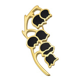 18k Yellow Gold & Black Onyx Bellflowers Pin