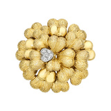 18k Yellow Gold & Diamond Heart Flower Cluster Brooch