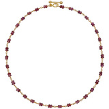 18k Yellow Gold & Garnet Bead Link Necklace
