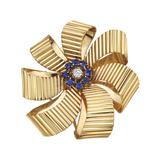 Retro 14k Gold & Gem-Set Ribbon Brooch