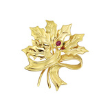 ​18k Yellow Gold & Ruby Holly Leaf Pin