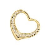 Elsa Peretti 18k Gold & Pavé Diamond Open Heart Pendant