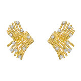 ​Schlumberger 18k Gold & Diamond Fan Earrings