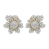 ​Schlumberger Pavé Diamond Flower Earclips