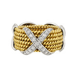 ​Schlumberger 18k Gold Rope & Diamond 'X' Wide Band