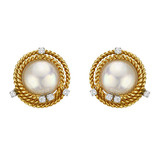 Schlumberger 18k Gold, Pearl & Diamond Earclips
