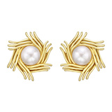 ​Schlumberger 18k Yellow Gold & Mabe Pearl Earclips