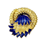 ​18k Yellow Gold & Blue Enamel Swirl Pin