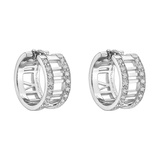 "18k White Gold & Diamond ""Atlas"" Hoop Earrings"
