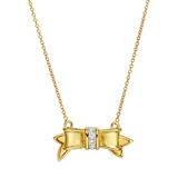 18k Yellow Gold & Diamond Bow Pendant Necklace