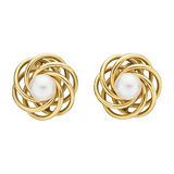 14k Yellow Gold & Pearl Pinwheel Earclips