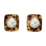18k Yellow Gold, Cowrie Shell & Pearl Earclips