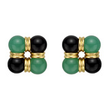 18k Yellow Gold, Chrysoprase & Onyx Earrings