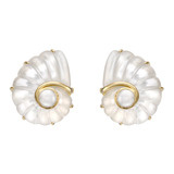 Mother-of-Pearl & Rock Crystal Nautilus Shell Earclips