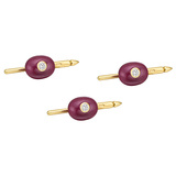 18k Gold, Ruby & Diamond Shirt Studs