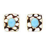 Shell Earclips with Turquoise