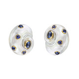 Shell Earrings with Sapphire