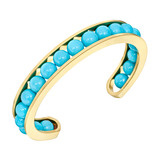 18k Gold &amp; Turquoise Bead Bangle