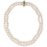 2-Strand Pearl Necklace with Gem-Set Clasp