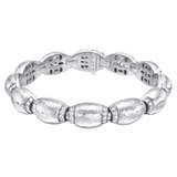 18k White Gold Domed Link Bracelet with Diamond