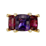 "​Amethyst & Rubellite ""Colori"" Three-Stone Ring"