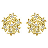 18k Yellow Gold & Diamond Flower Cluster Earclips