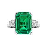 Colombian Emerald-Cut Emerald & Diamond Ring