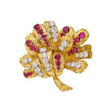 ​18k Gold, Diamond & Ruby Foliate Brooch