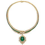 Emerald & Diamond Pendant Necklace