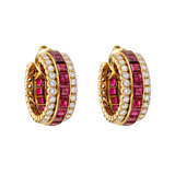 Invisible-Set Ruby & Diamond Hoop Earclips