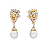 &quot;Lamballe&quot; Diamond &amp; Pearl Drop Earrings