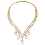 """Lamballe"" Diamond & Pearl Drop Necklace"