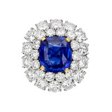 7.02 Carat Sapphire &amp; Diamond Cluster Ring