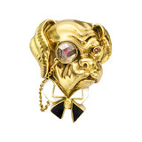 18k Gold, Enamel & Diamond Bulldog Pin