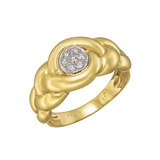 Braided 18k Yellow Gold & Diamond Dress Ring
