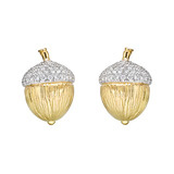 18k Gold, Platinum & Diamond Acorn Earclips