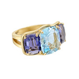 Large Aquamarine & Iolite Three-Stone Ring