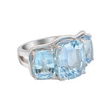 Large Aquamarine Three-Stone Ring