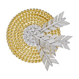 18k Yellow Gold & Platinum Target Brooch with Diamond