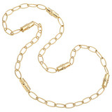 18k Gold Bamboo Bead &amp; Marquis Link Long Necklace