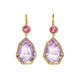 """Byzantine"" Amethyst Drop Earrings with Pink Tourmaline"