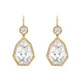 """Byzantine"" White Topaz Drop Earrings with Diamond"