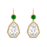"""Byzantine"" White Topaz Drop Earrings with Tsavorite Garnet"