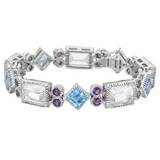 &quot;Byzantine&quot; Rock Crystal, Blue Topaz &amp; Iolite Bracelet