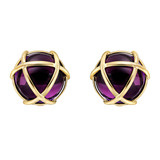 &quot;Caged&quot; Amethyst &amp; 18k Gold Earclips